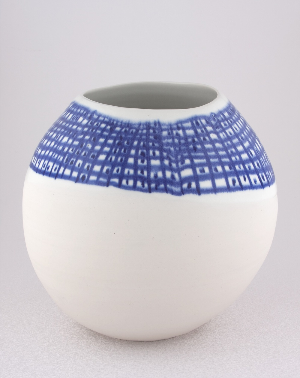 "Shio Kusaka Untitled (1/3 blue grid) 2009 Porcelain 8"" x 8 1/2"" x 8 1/2"" K060"