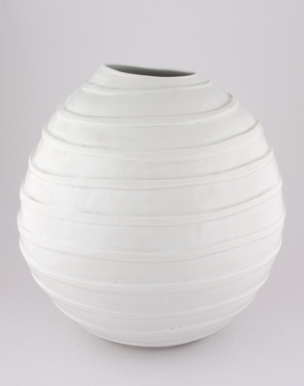 "Shio Kusaka Untitled (carved stripe) 2008 Porcelain 9 3/4"" x 7 3/4"" K059"