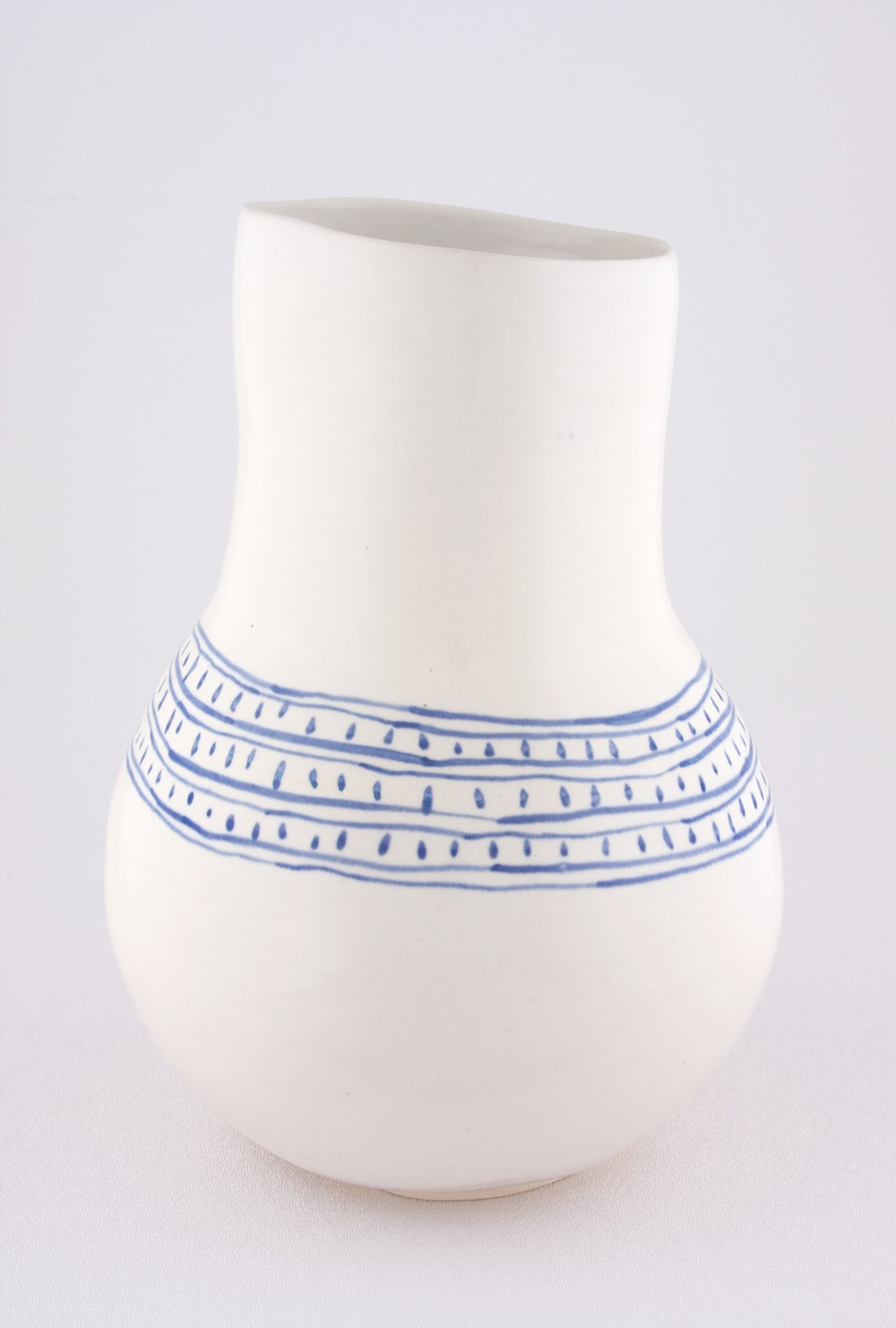 Shio Kusaka  Untitled (blue line and dot)  2009 Porcelain 9 ¾h x 7w in SK055