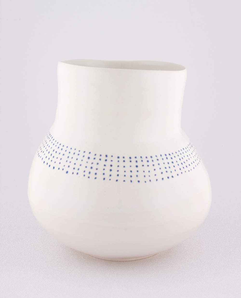 "Shio Kusaka Untitled (blue dot stripe 1) 2009 Porcelain 7 1/2"" x 7"" SK051"
