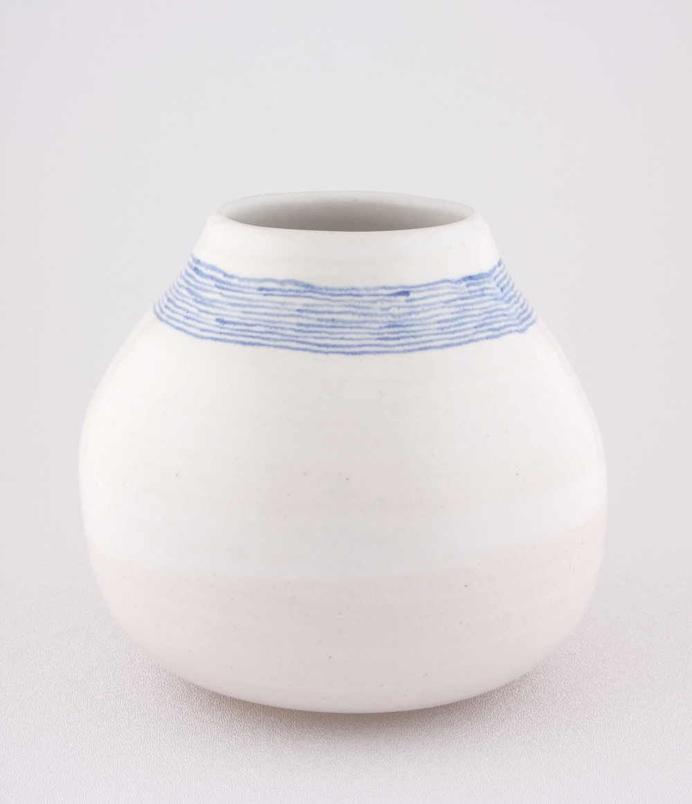 "Shio Kusaka Untitled (blue stripe 1) 2009 Porcelain 5 3/4"" x 6 1/4"" SK048"