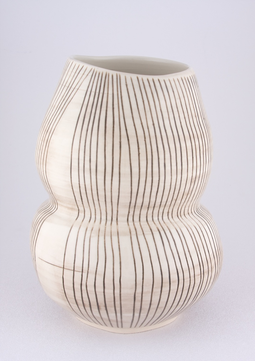 "Shio Kusaka Untitled (double black stripe) 2009 Porcelain 10"" x 7 3/4"" SK043"