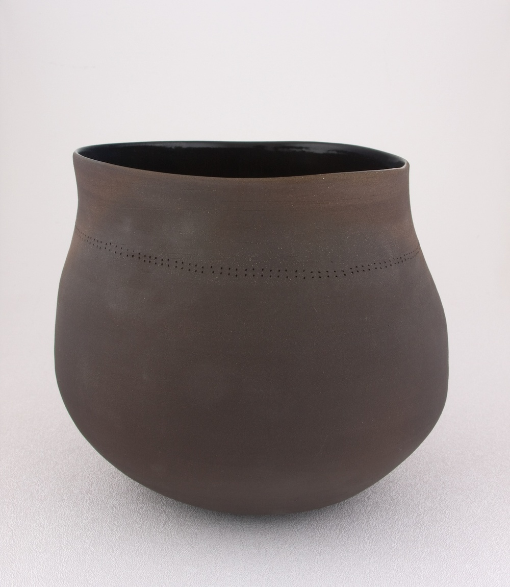 "Shio Kusaka Untitled (dot black 1) 2009 Stoneware 7 1/4"" x 8"" x 8"" SK037"