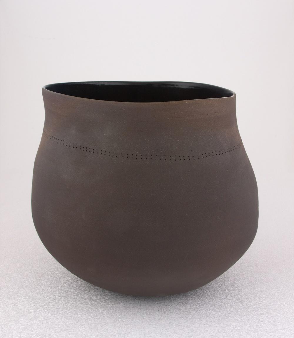 Shio Kusaka  Untitled (dot black 1)  2009 Stoneware 7 ¼h x 8w x 8d in SK037