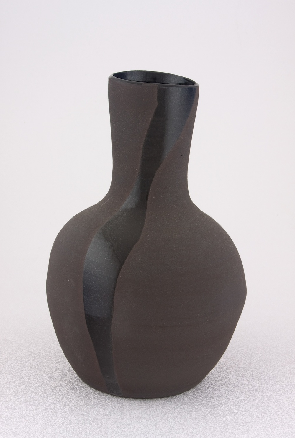 "Shio Kusaka Untitled (one black line) 2009 Stoneware 8"" x 5 1/2"" x 5 1/2"" SK035"
