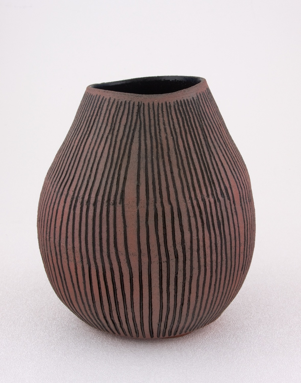 "Shio Kusaka Untitled (carved stripe 3) 2009 Porcelain 6 1/2"" x 6 1/2"" SK023"
