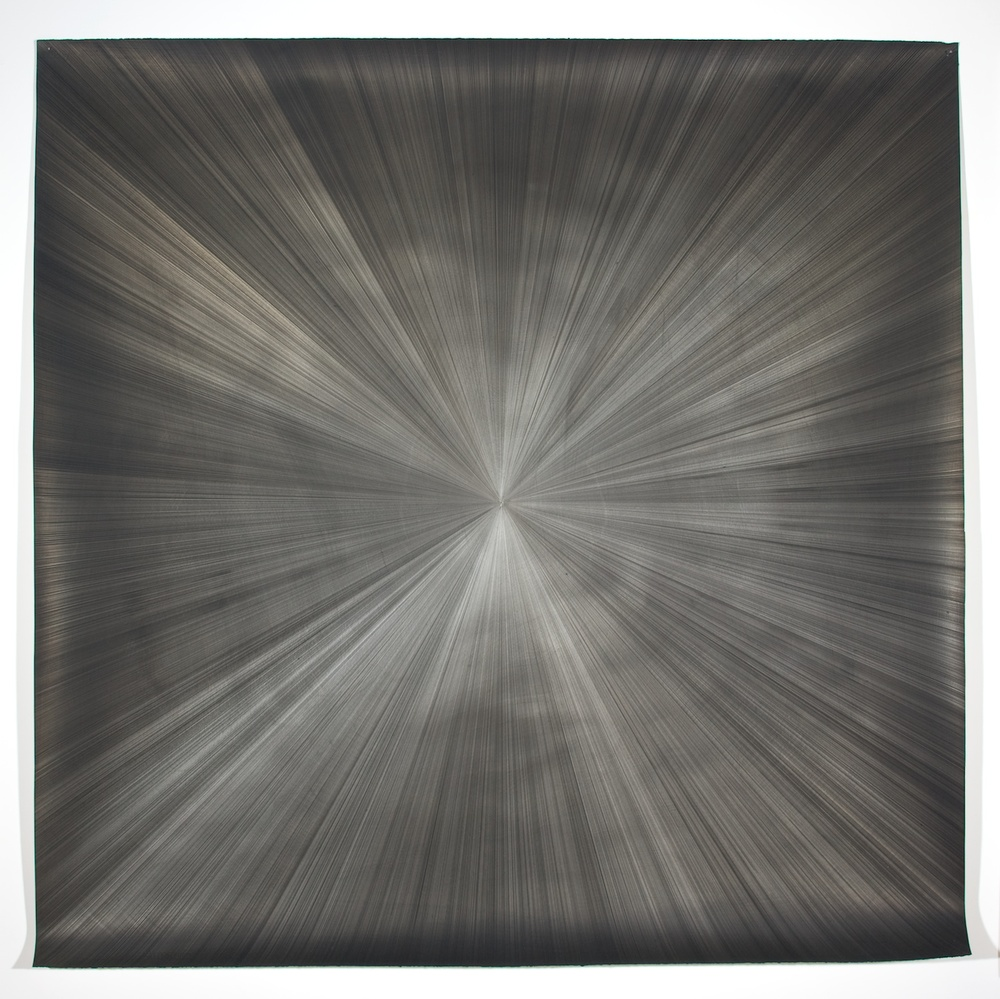 "Michelle Grabner Untitled 2008 Silver and gesso on paper 55"" x 55"" MGrab148"