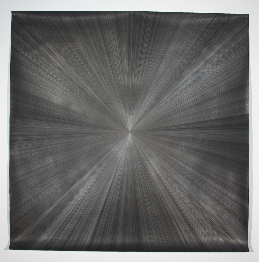 "Michelle Grabner Untitled 2008 Silver and gesso on paper 55"" x 55"" MGrab147"