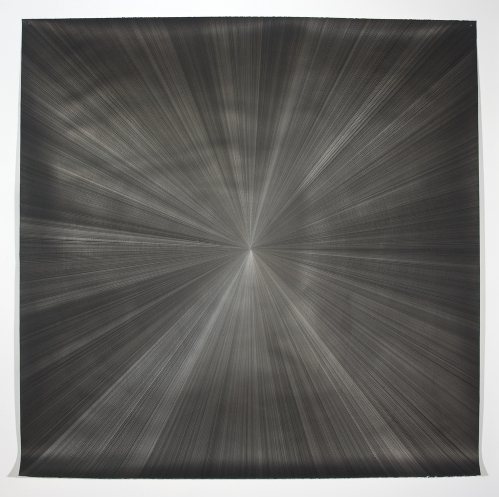 "Michelle Grabner Untitled 2008 Silver and gesso on paper 55"" x 55"" Grab144"