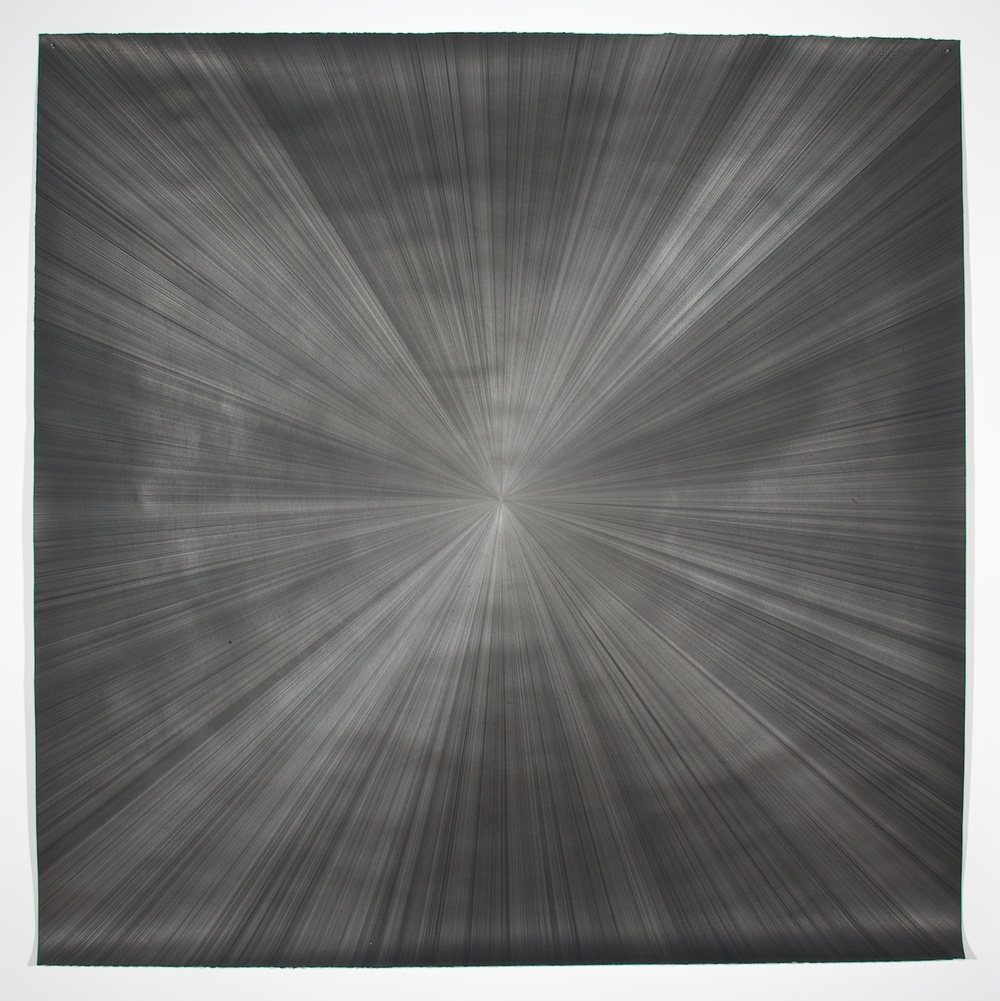 "Michelle Grabner Untitled 2008 Silver and gesso on paper 55"" x 55"" MGrab143"