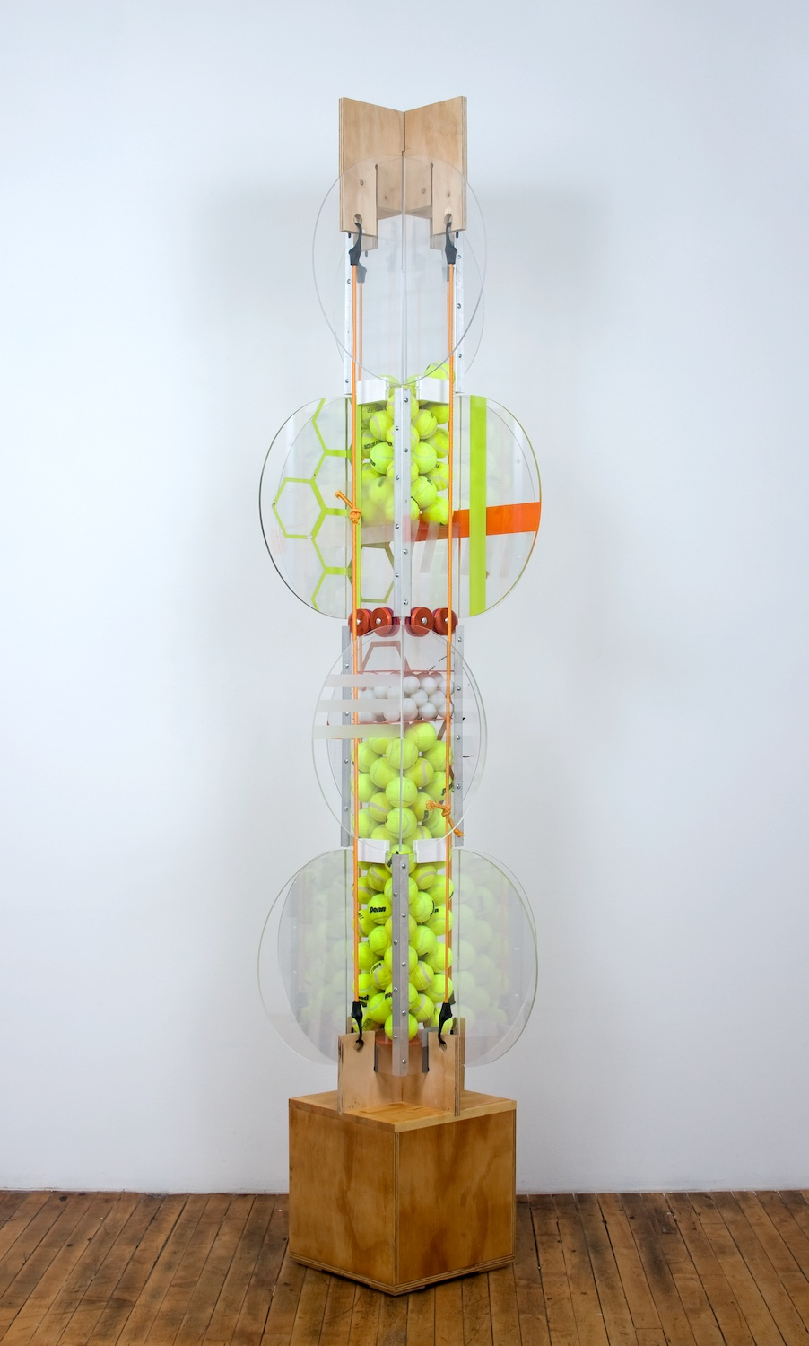 "Jason Meadows Vehicular Cellular Pattern 2008 Wood, extruded aluminum, hardware, plexiglass, spray paint, tennis balls, and mixed media 78"" x 26"" x 26"" JM018"