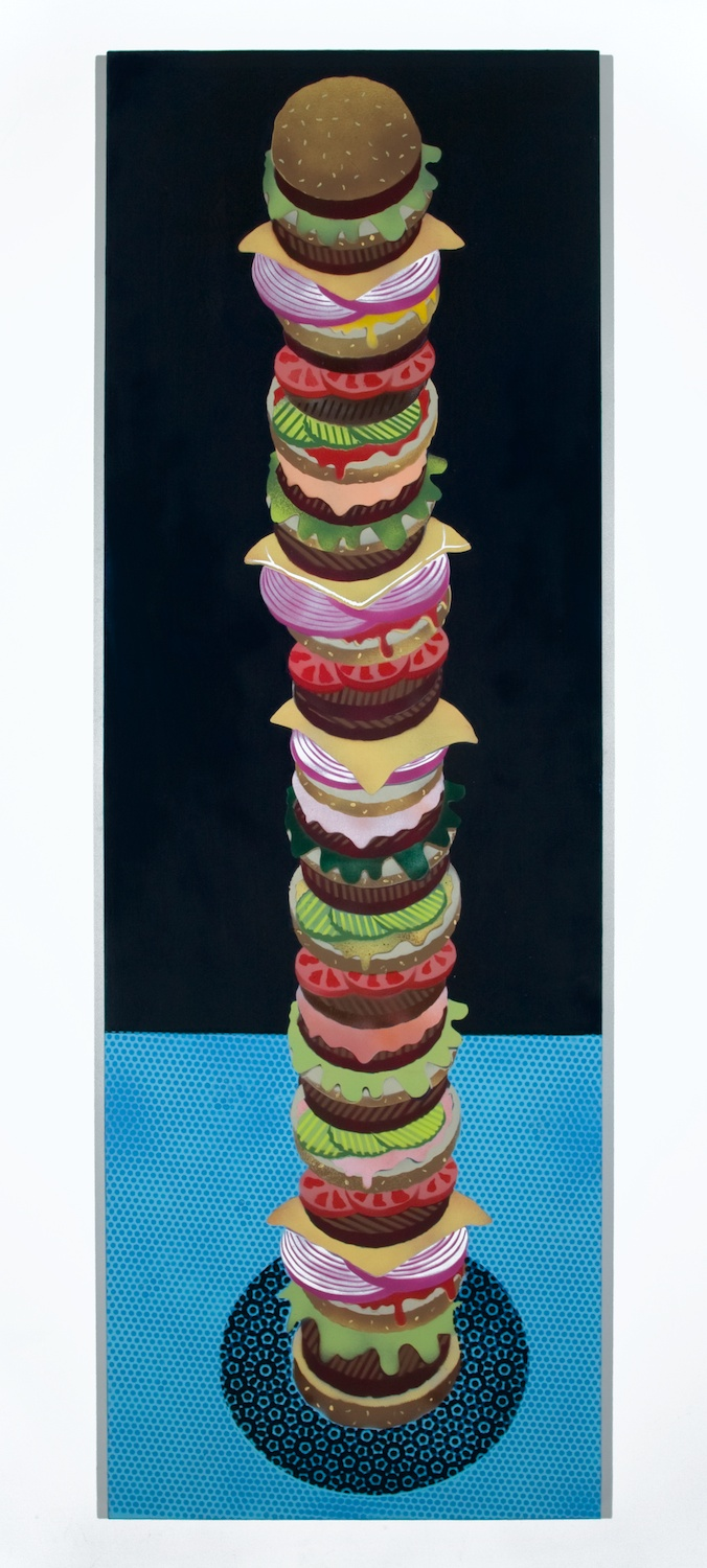 "Jason Meadows Hamburger Tower 2008 Paint and spraypaint on canvas 72"" x 24"" x 1 1/2"" JM016"