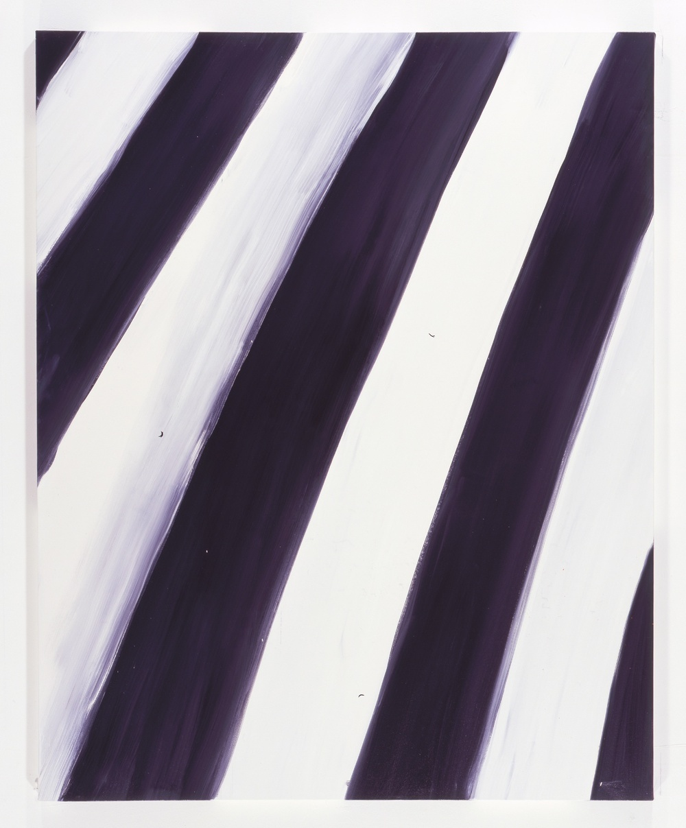 "Ann Craven Untitled (Stripe BLack white black 1/15/08) 2008 Oil on canvas 60"" x 48"""