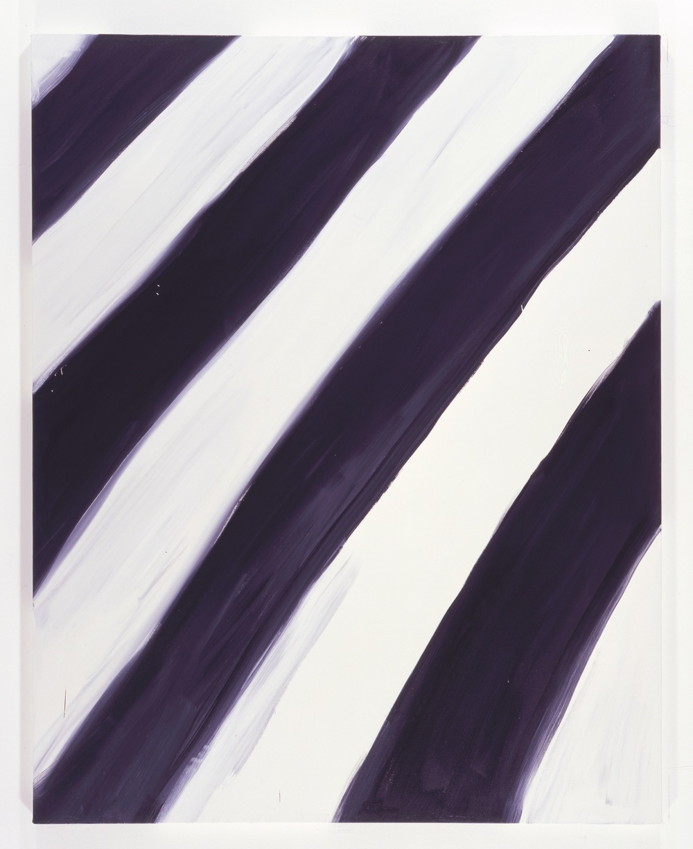 "Ann Craven Untitled (Stripe White black white 1/16/08) 2008 Oil on canvas 60"" x 48"""