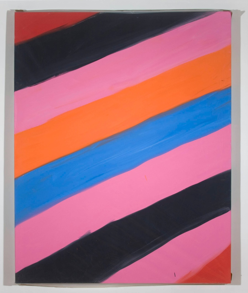 "Ann Craven Untitled (Stripe Red black pink 1/17/08) 2008 Oil on canvas 60"" x 48"" AC046"