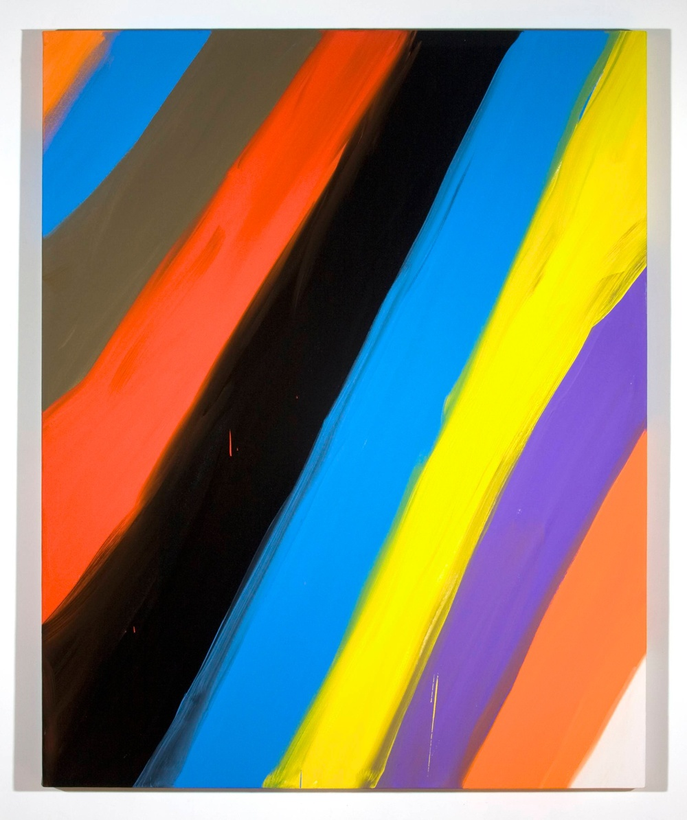 Ann Craven  Untitled (Stripe Orange blue black 2-1-08)  2008 Oil on canvas AC002