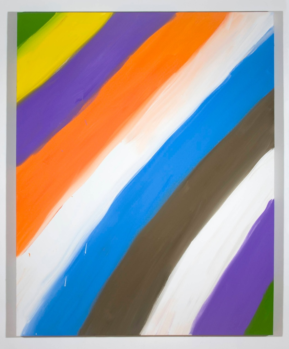 "Ann Craven Untitled (Stripe Green yellow purple 1-31-08) 2008 Oil on canvas 60"" x 48"""