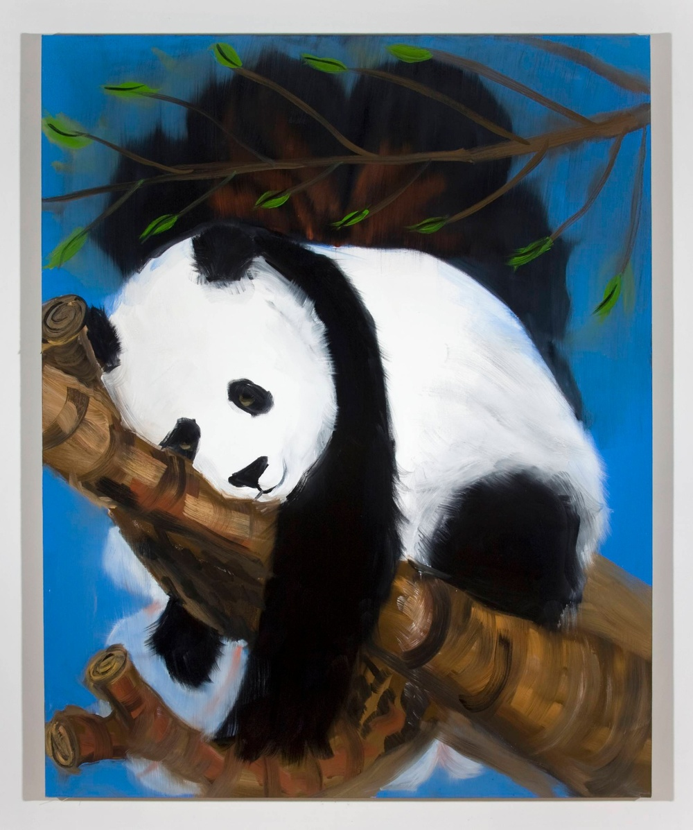 "Ann Craven Panda on branch Feb 2008 2008 Oil on canvas 60"" x 48"""