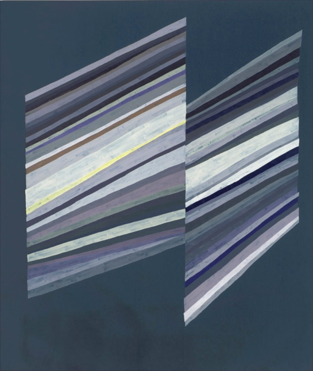 "Carrie Gundersdorf Two Widths of Epsilon Ring-violet & navy version 2007 Oil on canvas 65"" x 55"" CG002"