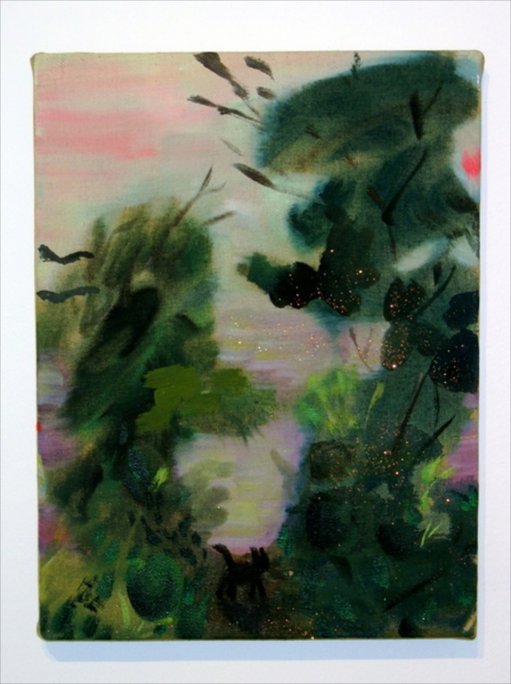 Mari Eastman  Elysian Park at Sunset  2006 Acrylic and glitter on linen 12h x 9w in ME001