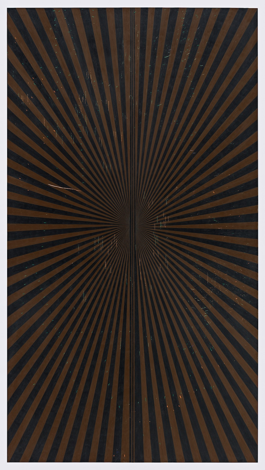 "Mark Grotjahn  2013  Untitled (Dark Brown and Black Butterfly 45.10)   Color pencil on paper   76"" x 42"" MG45.10"
