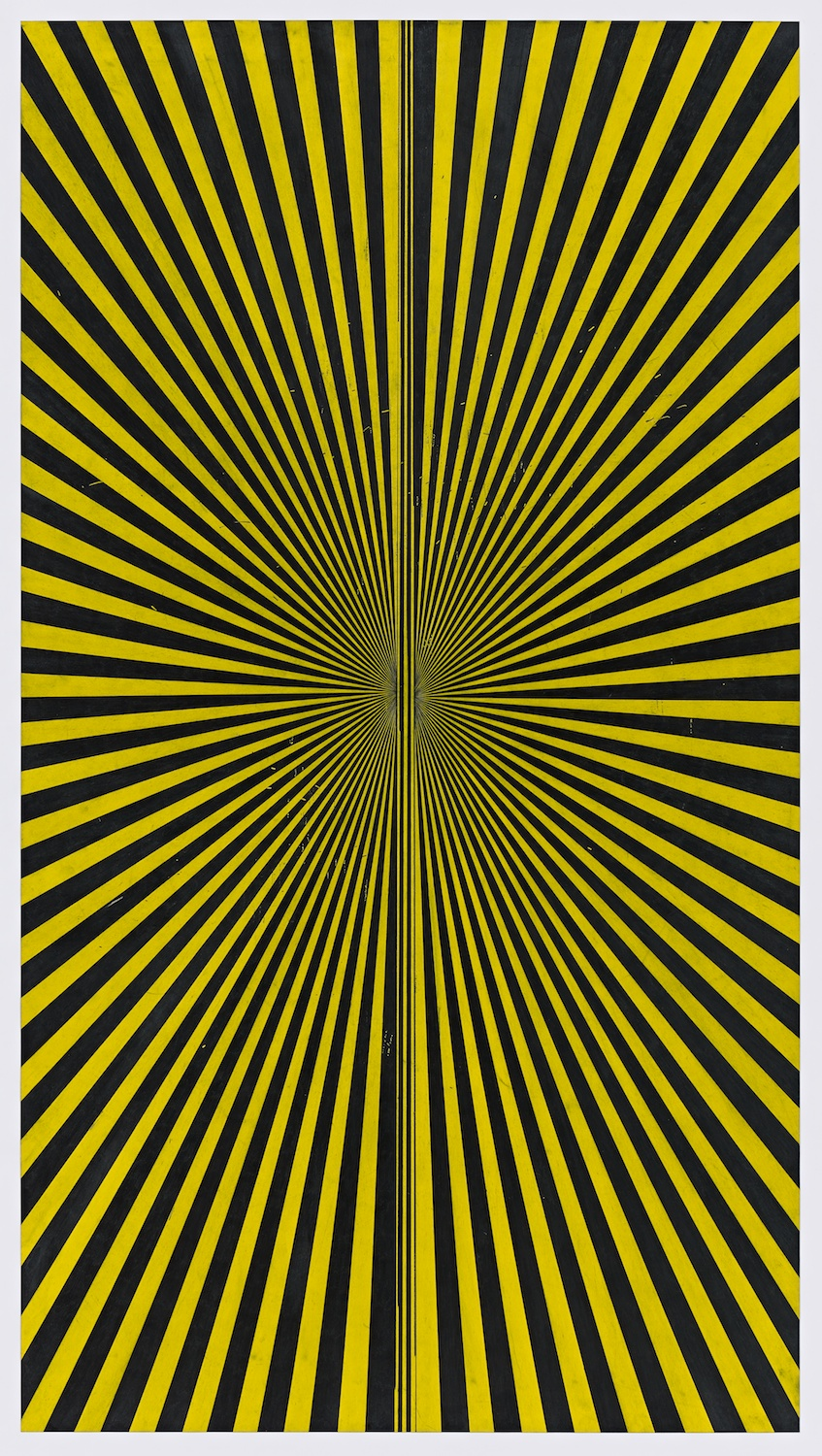 "Mark Grotjahn  Untitled (Black and Canary Yellow Butterfly 45.11) 2013  Color pencil on paper   76"" x 42"" MG45.11"