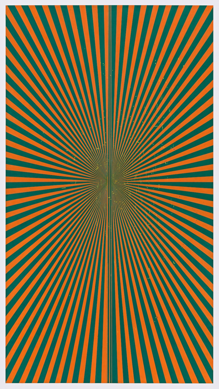 "Mark Grotjahn  Untitled (Orange and Grass Green Butterfly 45.12) 2013  Color pencil on paper   76"" x 42"" MG45.12"