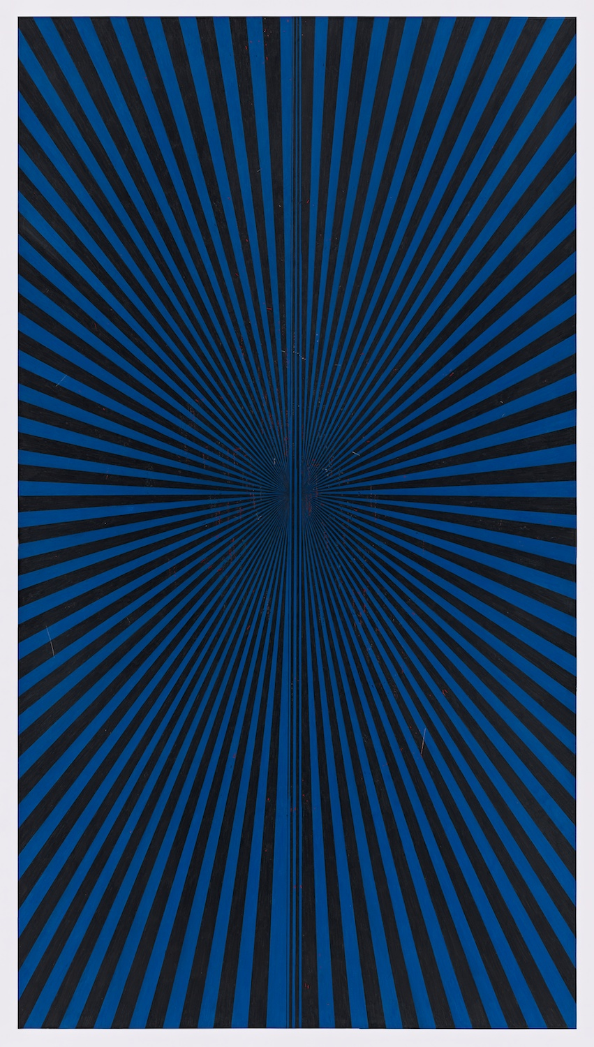 "Mark Grotjahn  Untitled (Black and Copenhagen Blue Butterfly 45.17) 2013  Color pencil on paper   76"" x 42"" MG45.17"