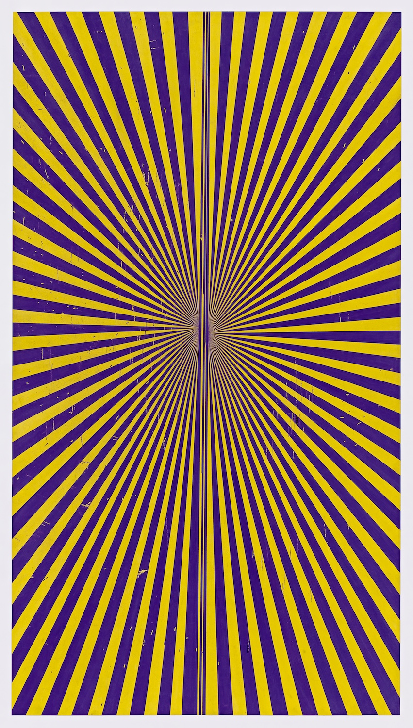 "Mark Grotjahn Untitled (Violet and Canary Yellow Butterfly 45.05) 2013 Color pencil on paper 76"" x 42"" MG45.05"