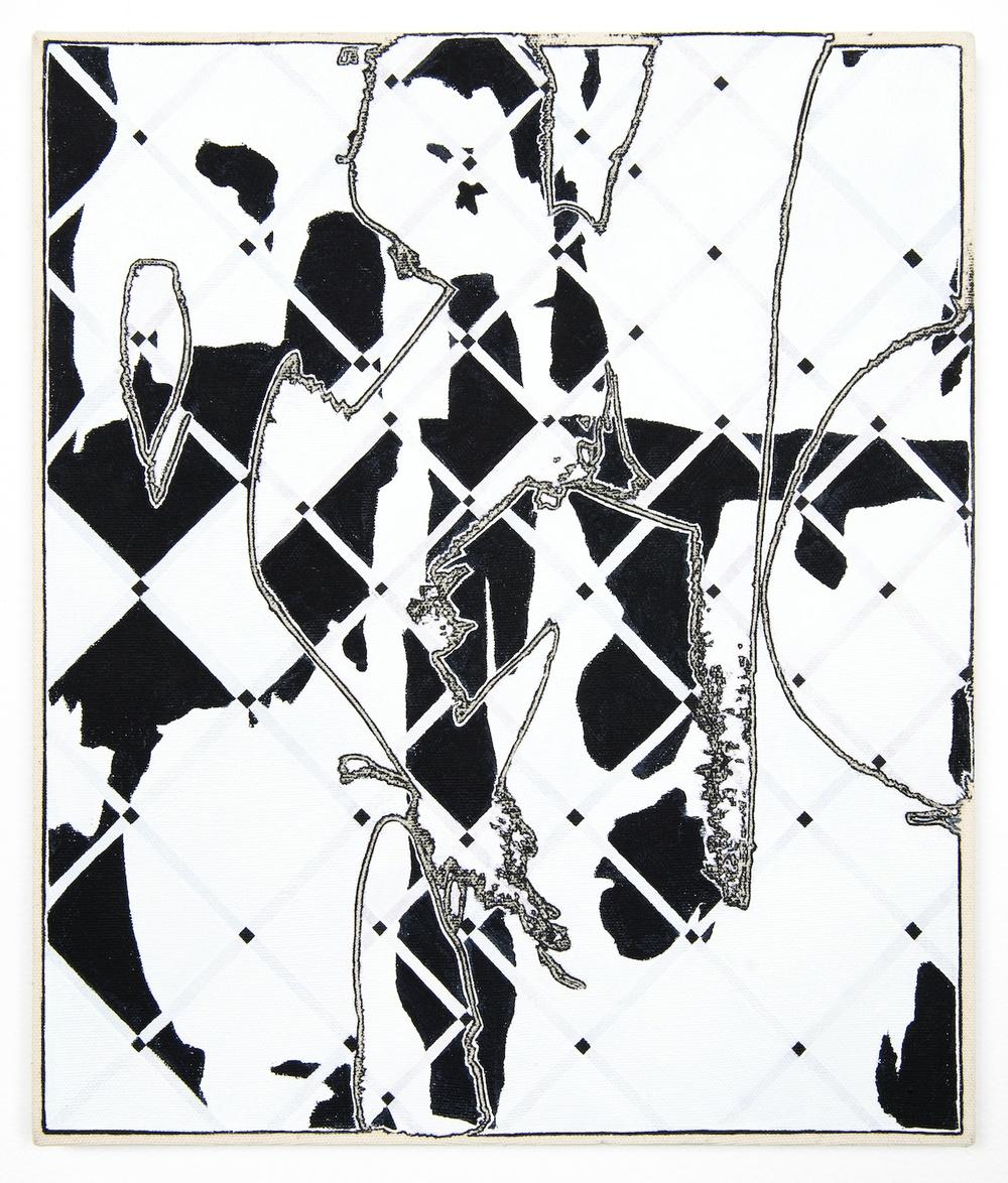 "Zak Prekoo Two Grids 2013 Oil on canvas 14"" x 12"" ZP272"