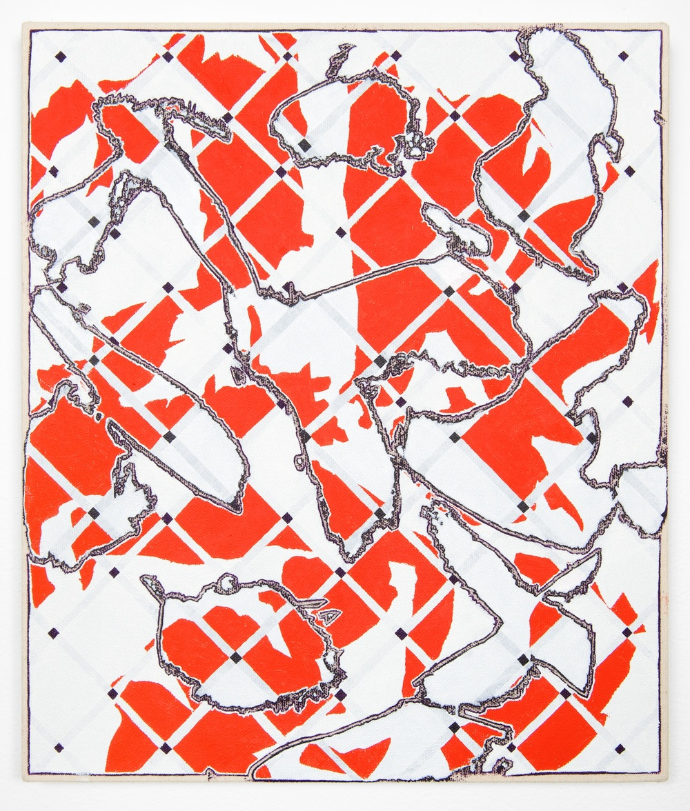"Zak Prekop Two Grids with Red 2013 Oil on canvas 24"" x 86 1/2"" ZP273"