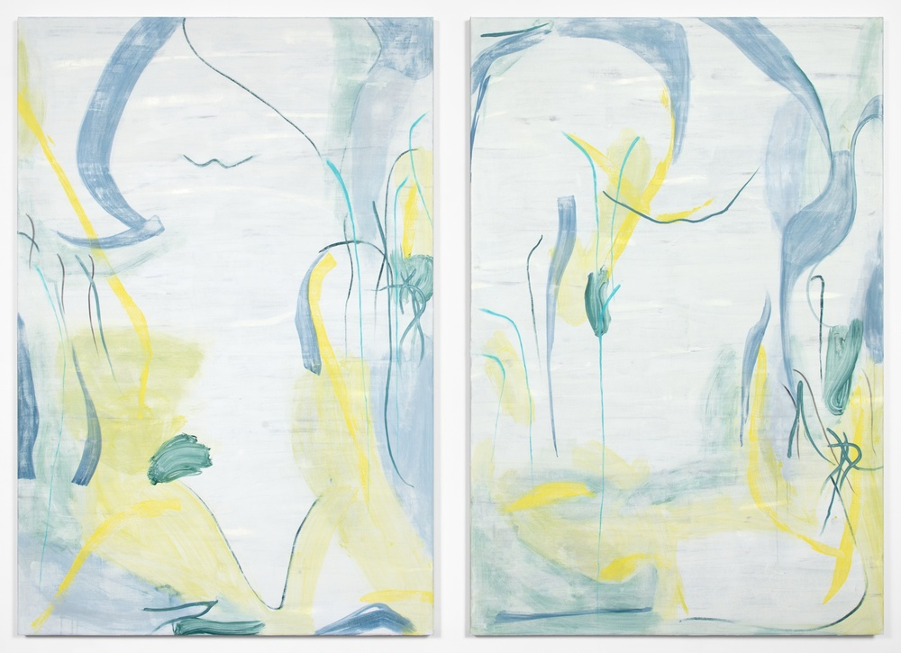 Peter Mandradjieff  Untitled Diptych #5  2013 Oil on canvas 72h x 99w in PM001