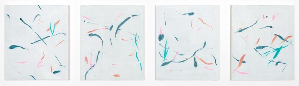 "Peter Mandradjieff Untitled #4 2013 Oil on canvas 24"" x 86.5"" PM002"