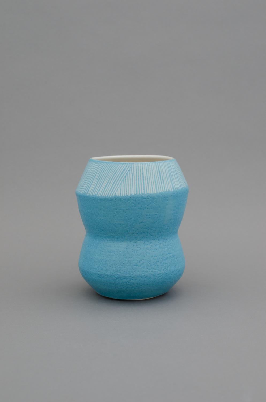 Shio Kusaka  Untitled (stripe 80)  2012 Porcelain 7h x 5 3/4w x 5 3/4d in SK378