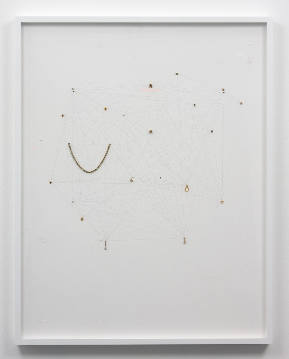 "Amanda Ross-Ho Untitled Still Life (Network Arcticulation with Ornamental Standins) 2010 Sheetrock, latex paint, staples, paper, acrylic paint, colored pencil, single earrings, and gold plated chain 42"" x 32"" ARH001"
