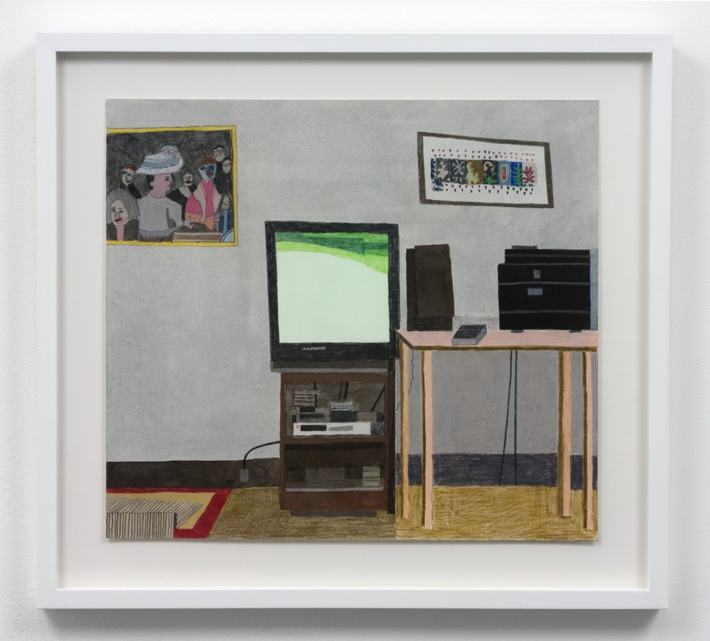 "Jonas Wood Nighttime TV Room 2010 Gouache, colored pencil, and collage on paper 40 1/2"" x 43"" JW069"