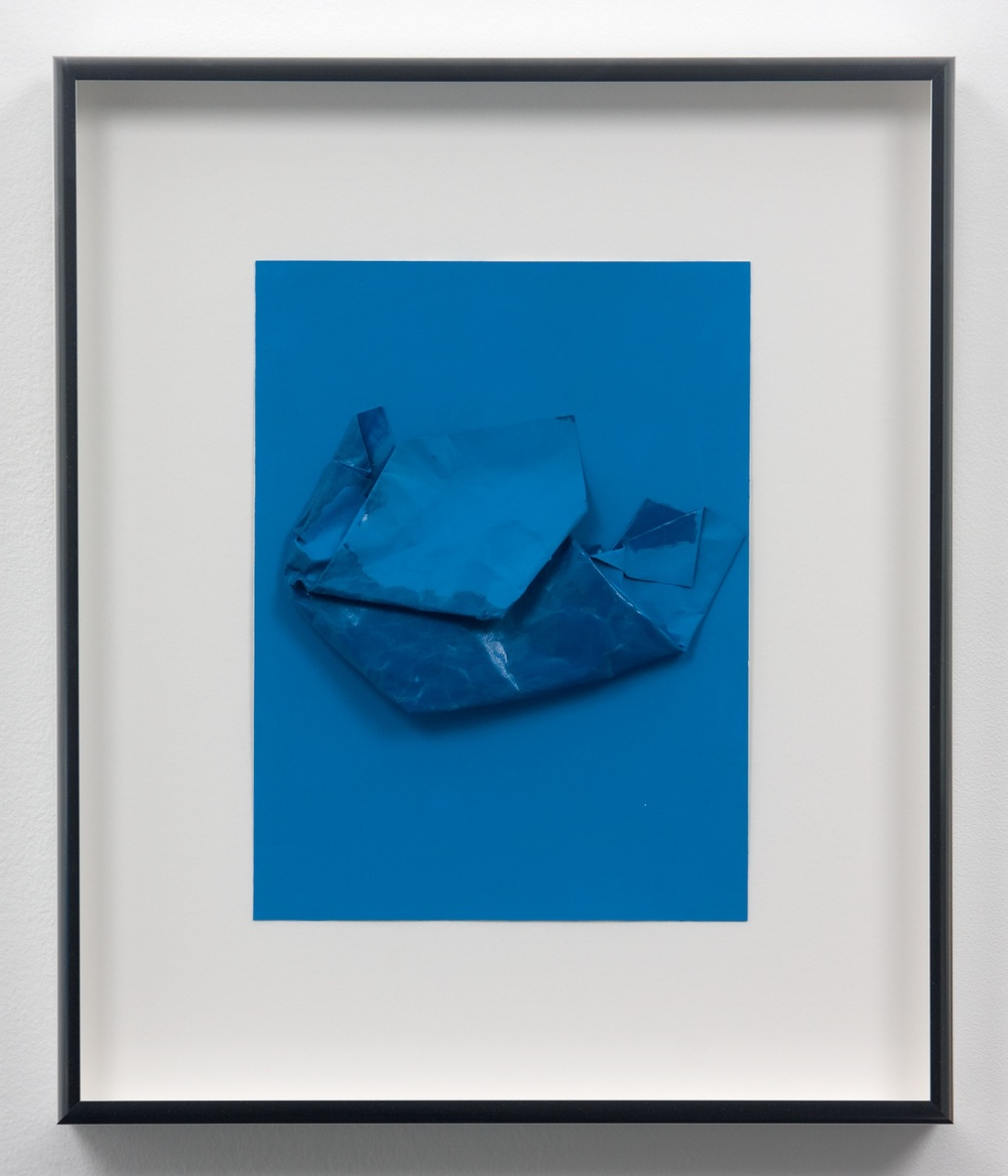 "Lisa WIlliamson Untitled (Blue Croissant) 2010 Acrylic and enamel on paper 12"" x 9"" x 1"" LW063"