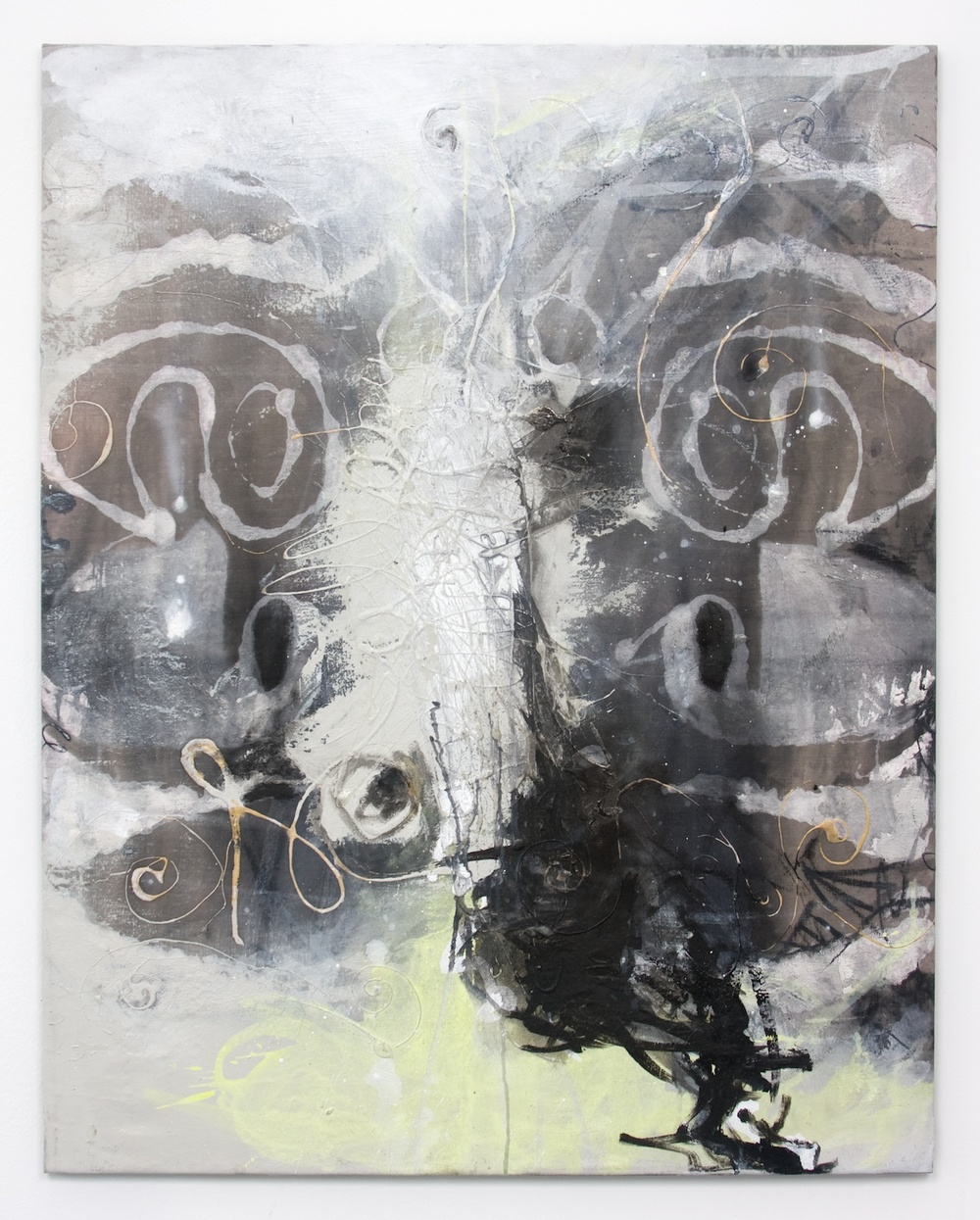 Suzanne McClelland  Lie (with)  2010 Acrylic, charcoal, and oil on linen; Bendix stretcher 36h x 28w in SM110