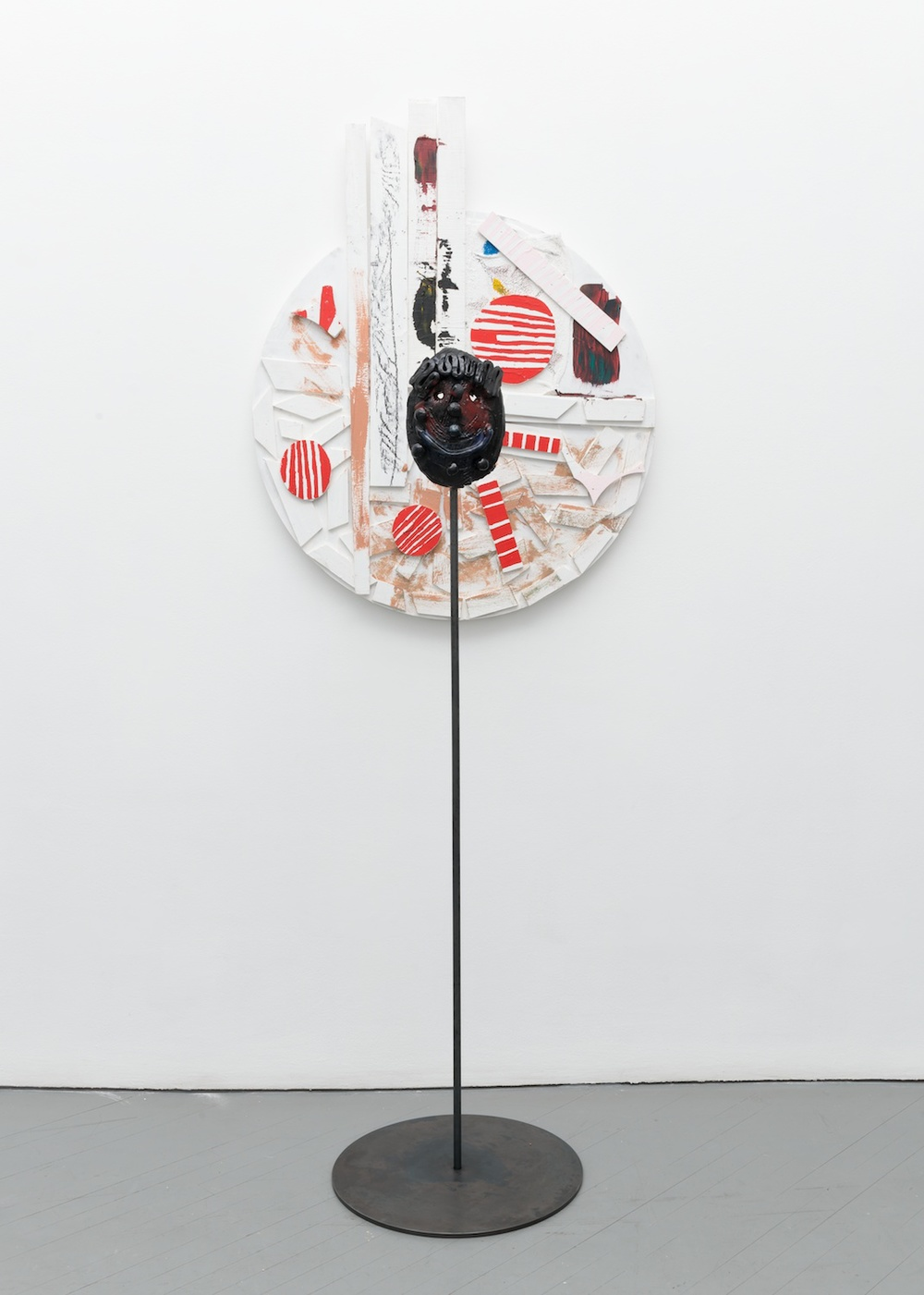 William J. O'Brien  Untitled  2013/2014 Mixed media on wood; Glazed ceramic on steel armature 35h x 44w in (painting); 64 ½h x 20w x 20d in (ceramic + stand) WOB905/WOB935