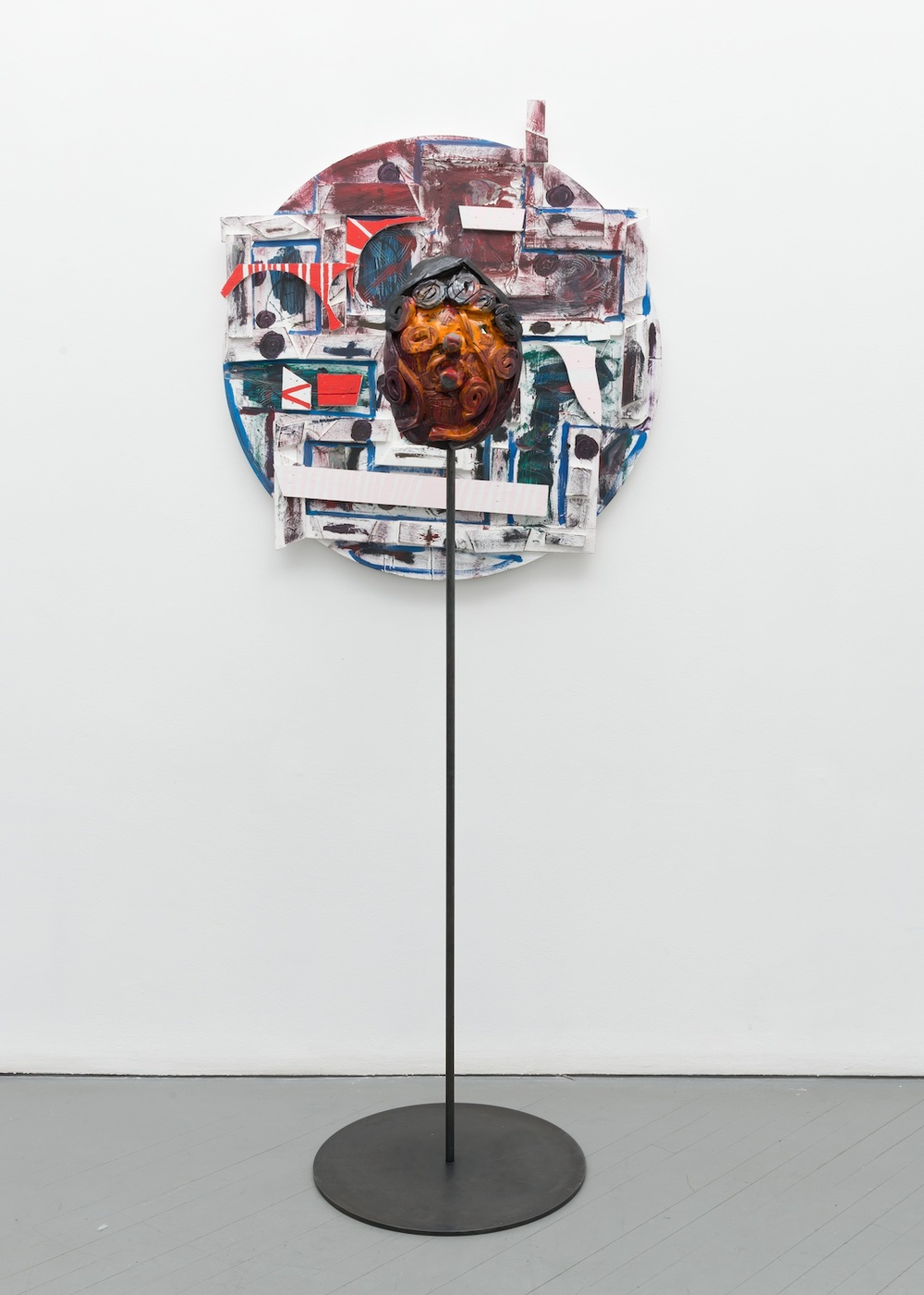 "William J. O'Brien Untitled 2013/2014 Mixed media on wood; Glazed ceramic on steel armature 35"" x 39"" (painting); 66 1/2"" x 20"" x 20"" (ceramic + stand) WOB907/WOB934"