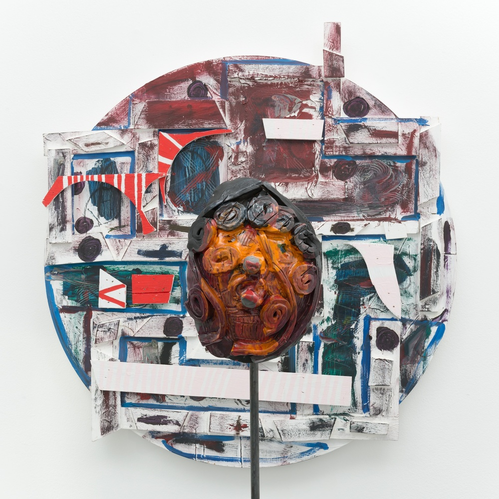 William J. O'Brien  Untitled  (Detail) 2013/2014 Mixed media on wood; Glazed ceramic on steel armature 35h x 39w in (painting); 66 ½h x 20w x 20d in (ceramic + stand) WOB907/WOB934