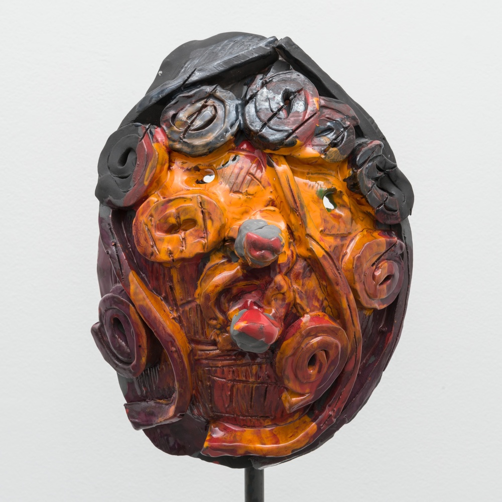 William J. O'Brien  Untitled  2014 Mixed media on wood; Glazed ceramic on steel armature 66 ½h x 20w x 20d in (ceramic + stand) WOB934