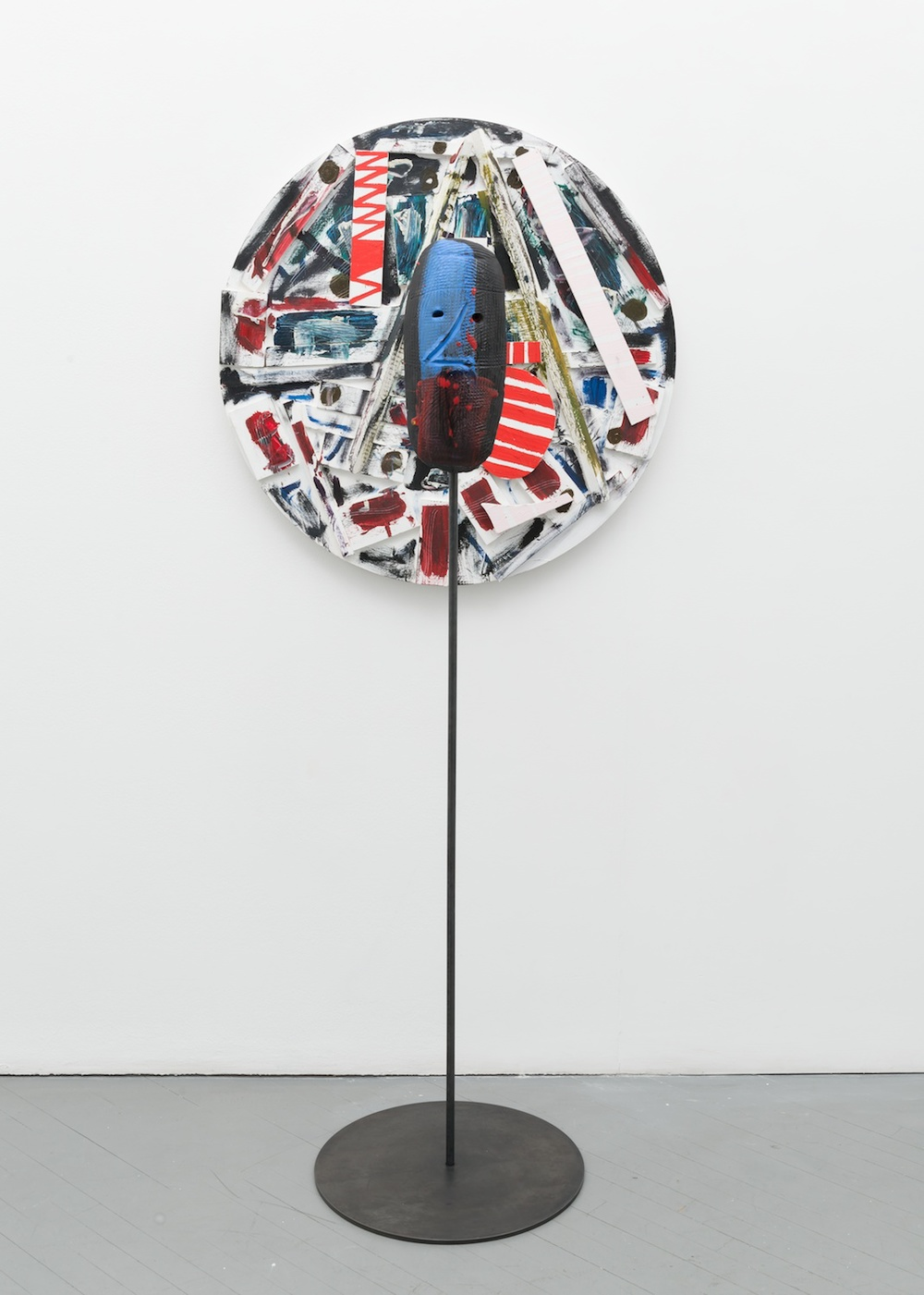 William J. O'Brien  Untitled  2013/2014 Mixed media on wood; Glazed ceramic on steel armature 35h x 35w in (painting); 66 ½h x 20w x 20d in (ceramic + stand) WOB904/WOB933