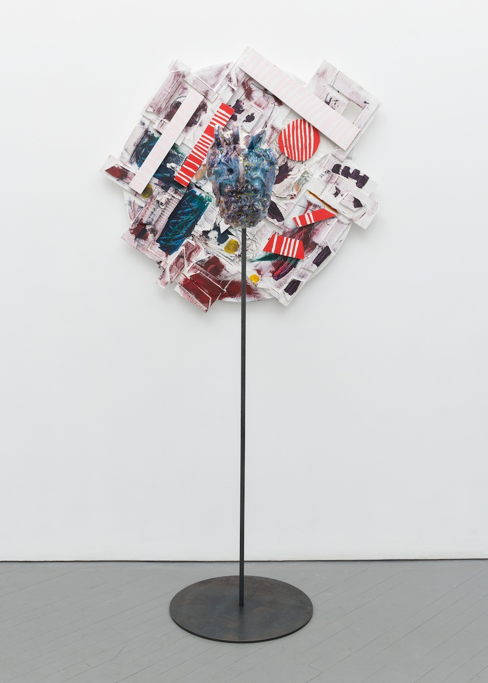 "William J. O'Brien Untitled 2013/2014 Mixed media on wood; Glazed ceramic on steel armature 35"" x 42"" (painting); 65 3/4"" x 20"" x 20"" (ceramic + stand) WOB909/WOB938"