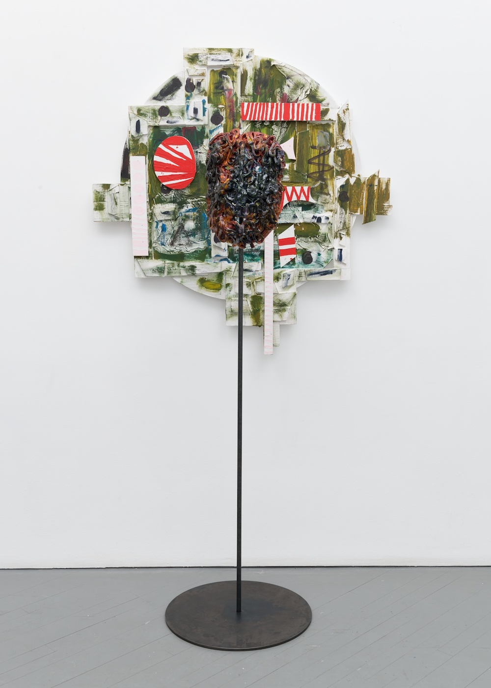 William J. O'Brien  Untitled  2013/2014 Mixed media on wood; Glazed ceramic on steel armature 43h x 44w in (painting); 64 ½h x 20w x 20d in (ceramic + stand) WOB906/WOB937