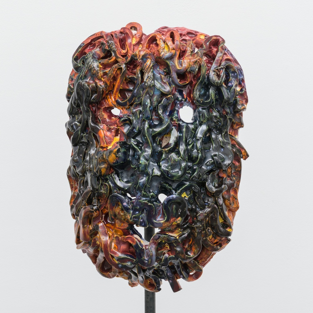 William J. O'Brien  Untitled  2013/2014 Glazed ceramic on steel armature 64 ½h x 20w x 20d in  WOB937