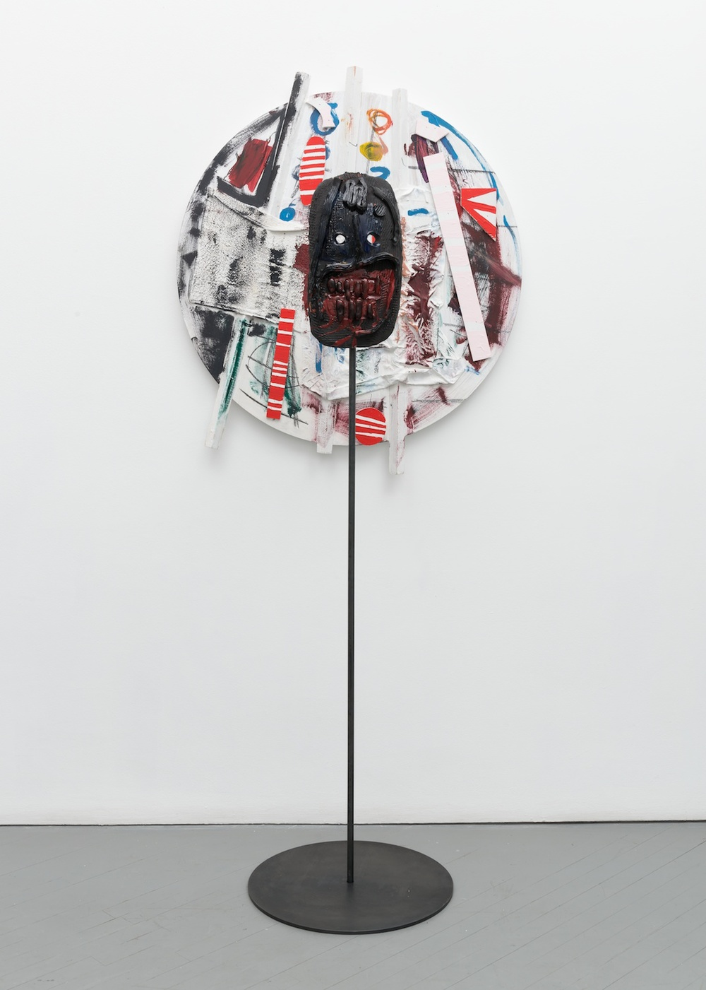 William J. O'Brien  Untitled  2013/2014 Mixed media on wood; Glazed ceramic on steel armature 35h x 38w in (painting); 66 ½h x 20w x 20d in (ceramic + stand) WOB908/WOB936