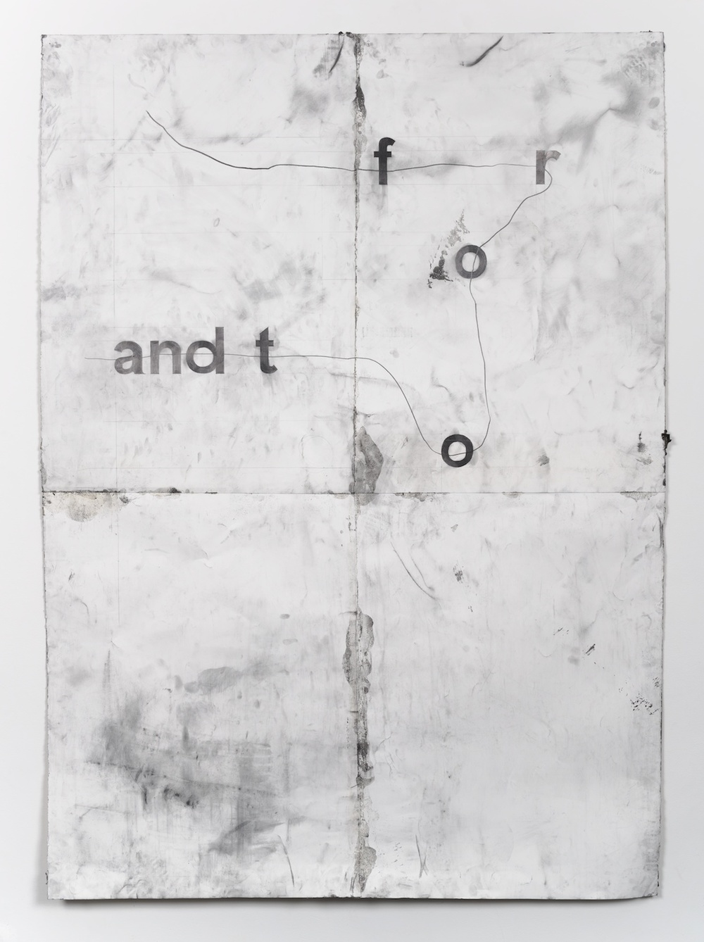 "Tony Lewis to and fro 2014 Pencil, graphite powder, and tape on paper 84"" x 60"" TL122"