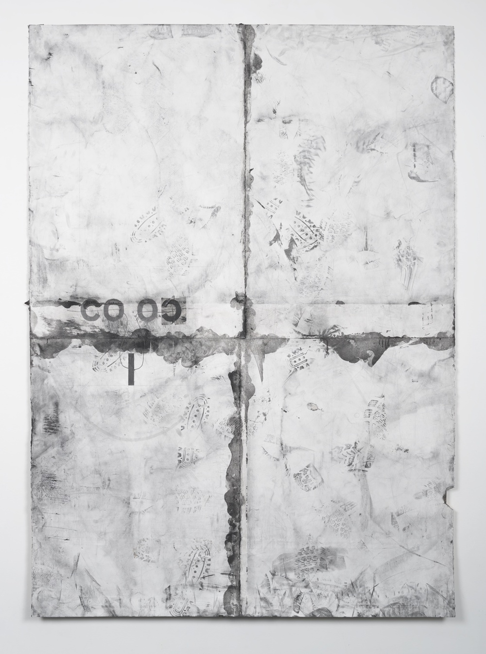 "Tony Lewis coloc 2014 Pencil, graphite powder, and tape on paper 84"" x 60"" TL123"