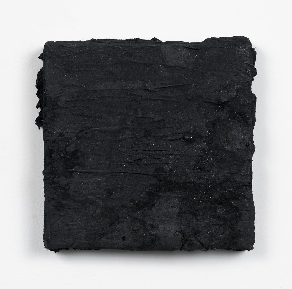 "Tony Lewis Bacon and Eggs 2013 Oil and powdered graphite on canvas 6 1/2"" x 6 1/2"" x 1"" TL124"